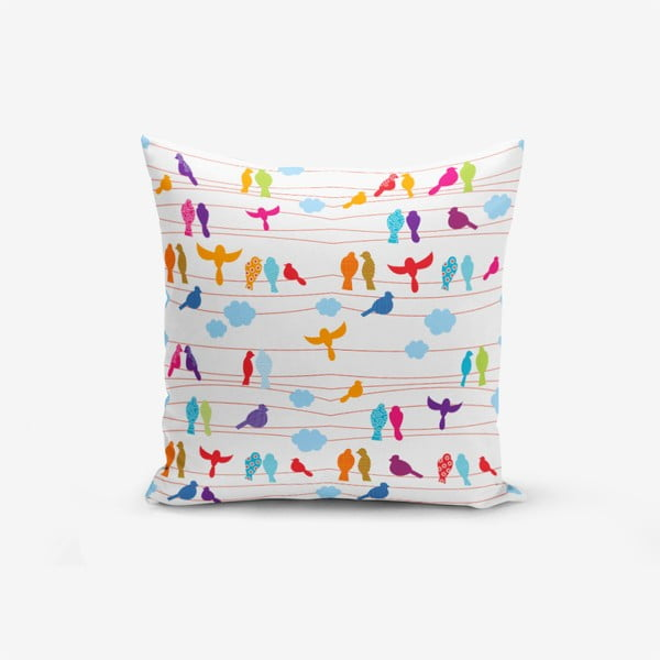 Colorful Bird pamutkeverék párnahuzat, 45 x 45 cm - Minimalist Cushion Covers