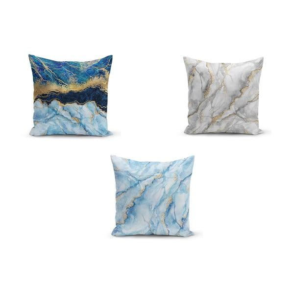 Set 3 fețe de pernă Minimalist Cushion Covers Azuro Cassie, 45 x 45 cm