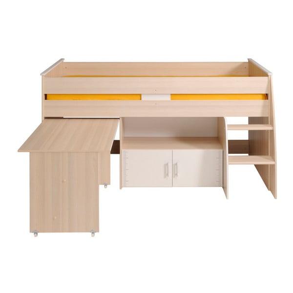 Multifunkční jednolůžková postel v dekoru akáciového dřeva Parisot Alleffra, 90x200cm