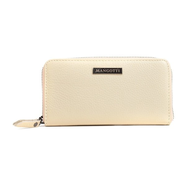 Béžová kožená peněženka Mangotti Bags Flora