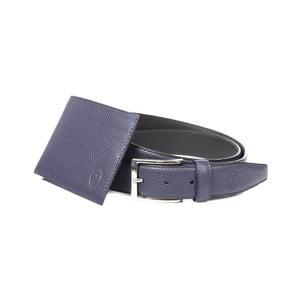 Pánský dárkový set černé kožené peněženky a pásku Trussardi Alfred