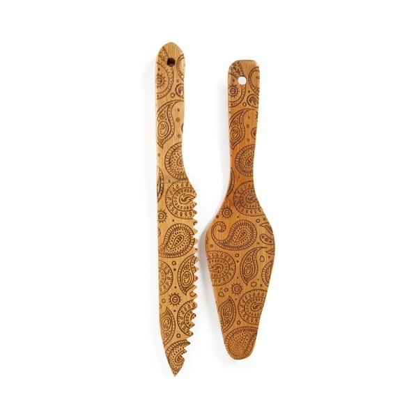 Set cuțit și spatulă din bambus pentru tort Bambum Minnie
