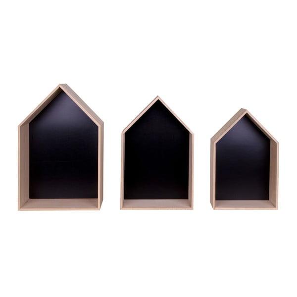Sada 3 hnědých dřevěných polic House Nordic Verona