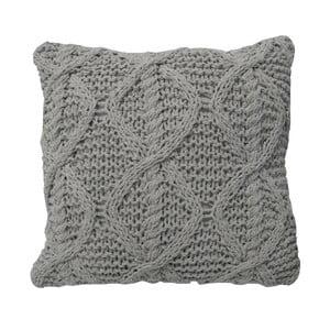 Světle šedý pletený polštář OVERSEAS,45x45cm