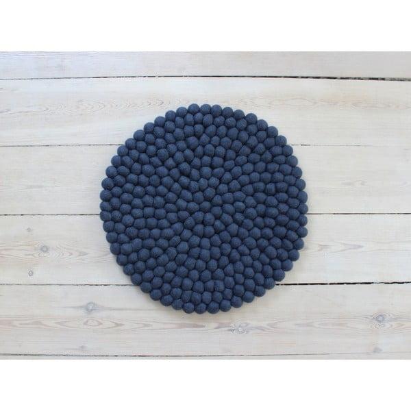 Tmavě modrý kuličkový vlněný podsedák Wooldot Ball Chair Pad, ⌀ 39 cm
