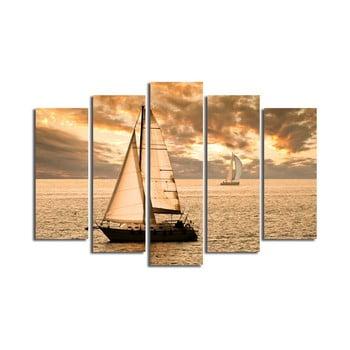 Tablou din mai multe piese Boat, 105 x 70 cm