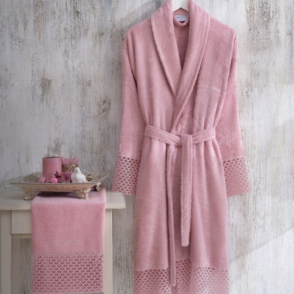 Set halat damă mărimea L/XL și prosop mâini Bathrobe Set Lady, roz