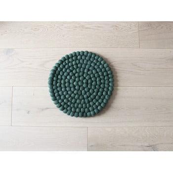 Pernă cu bile din lână pentru copii Wooldot Ball Chair Pad, ⌀ 30 cm, verde închis