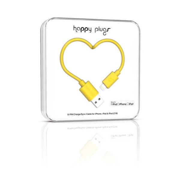 Žlutý Happy Plugs nabíjecí a datový kabel, 2 metry