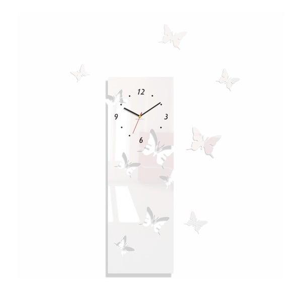 Hodiny z plexiskla Butterflies Away White