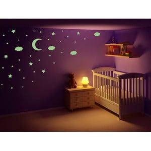 Svítící samolepka Hvězdy, měsíc a mráčky, 60x30 cm
