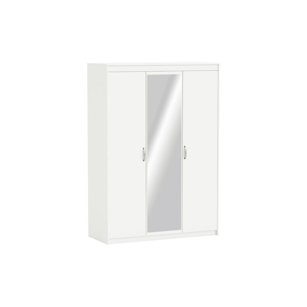 Bílá třídveřová skříň se zrcadlem Marty