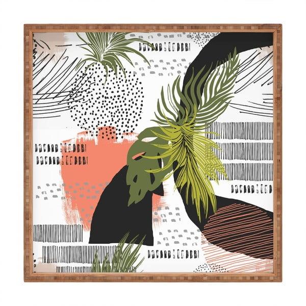 Tavă decorativă din lemn Modern Collage, 40x40cm