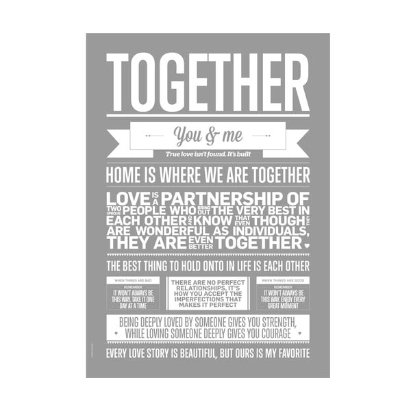 Autorský plakát Together Grey, 50x70 cm