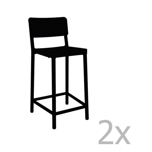 Sada 2 černých barových židlí vhodných do exteriéru Resol Lisboa Simple, výška 92,2 cm
