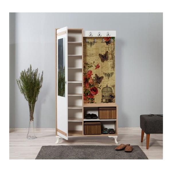 Hnědo-bílá předsíňová stěna se zrcadlem Inci Butterfly, výška 196 cm