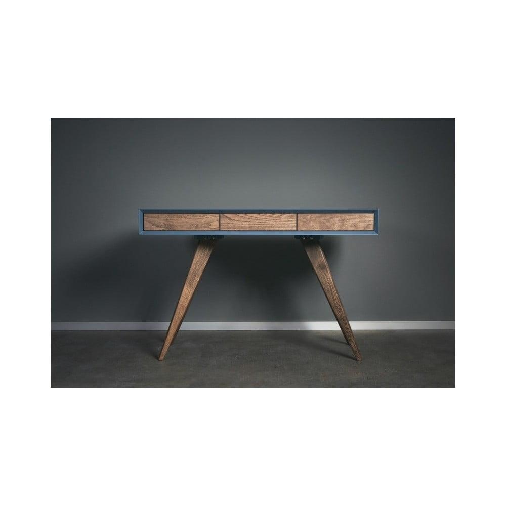 Modrý pracovní stůl z masivního jasanového dřeva Charlie Pommier Triangle, 140 x 40 cm