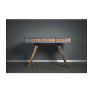 Modrý pracovní stůl z masivního jasanového dřeva Charlie Pommier Triangle, 140x40cm