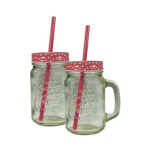 Sada 2 sklenic s červeným krytem a brčkem JOCCA Straw, 430 ml