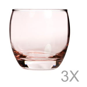 Sada 3 růžových skleniček Mezzo, 200 ml