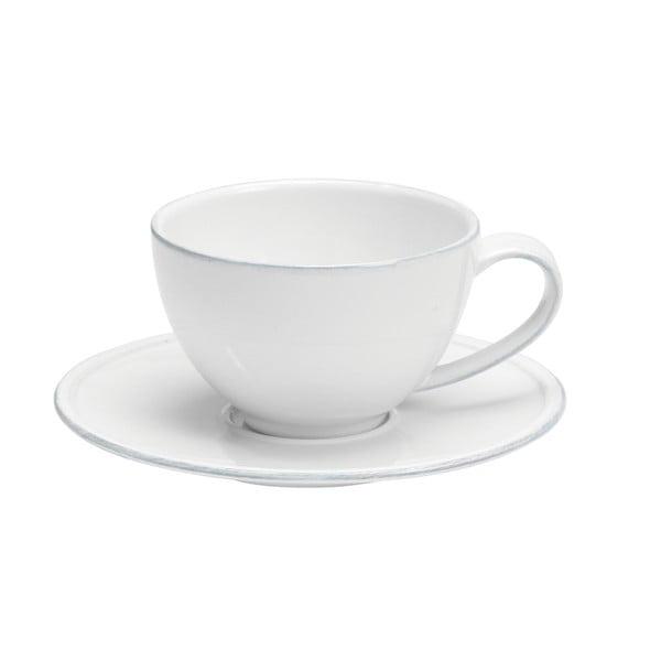 Bílý kameninový šálek na čaj s podšálkem Costa Nova Friso, objem 260ml