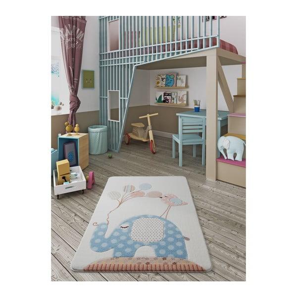 Dětský světle modrý koberec Confetti Spotty Elephant,100x150cm