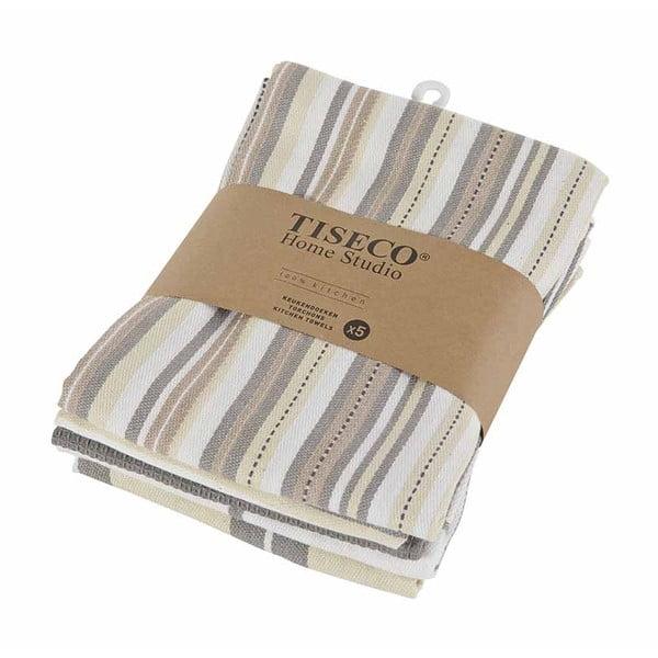 Sada 5 hnedých bavlnených utierok Tiseco Home Studio, 50 × 70 cm