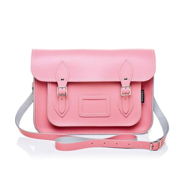 Kožená kabelka Satchel 33 cm, pastelově růžová