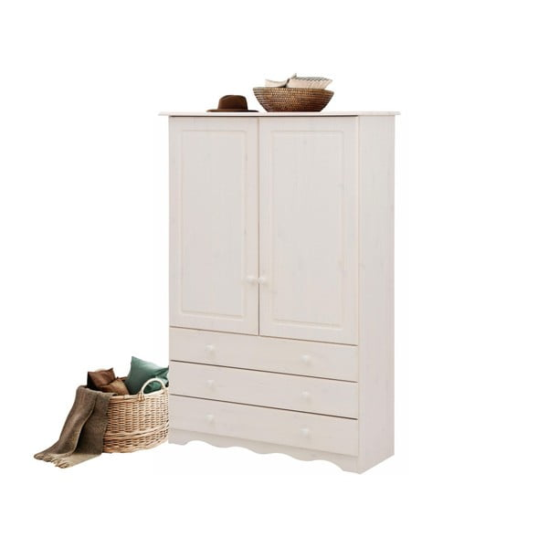 Bílá šatní skříň z masivního borovicového dřeva Støraa Amanda