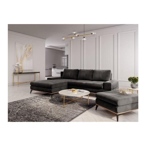 Tmavě hnědý puf se sametovým potahem Windsor & Co Sofas Astre