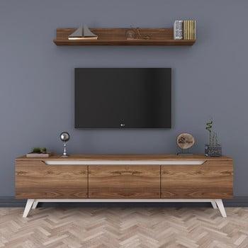 Set comodă TV cu 3 uși rabatabile și etajeră de perete Rani Natural, natural
