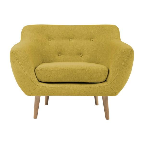 Fotoliu cu picioare de culoare deschisă Mazzini Sofas Sicile, galben