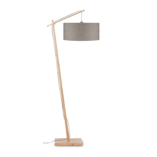 Stojací lampa s béžovým stínidlem a konstrukcí z bambusu Good&Mojo Andes
