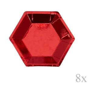Sada 8 červených papírových tácků Neviti Red & White Dots, ⌀12,5cm