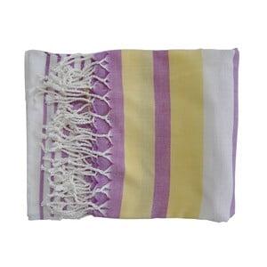 Prosop țesut manual din bumbac premium Rio, 100 x 80 cm, violet - galben