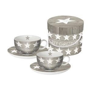 Sada 2 hrnků na cappuccino z kostního porcelánu s vánočním motivem v dárkovém balení PPD Merry Christmas Stars, 20 0ml