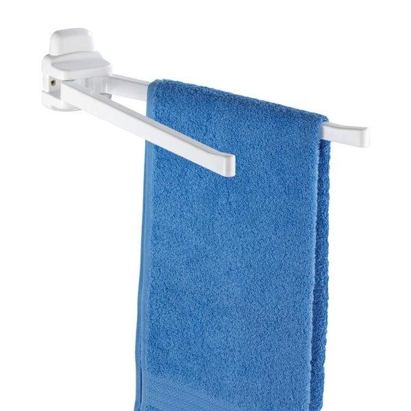 Bílý nástěnný držák s 2 rameny na ručníky Wenko Pure