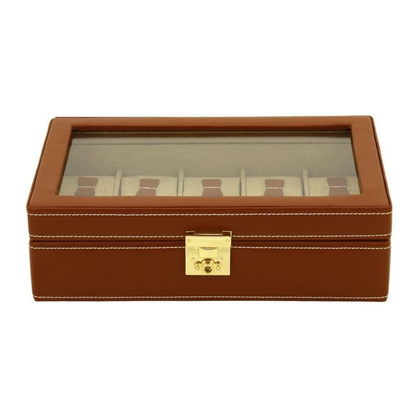 Hnědý kožený box na 10 hodinek Friedrich Lederwaren Cordoba