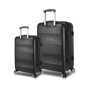 Sada 2 černých cestovních kufrů na kolečkách s USB porty My Valice LASSO Cabin & Large