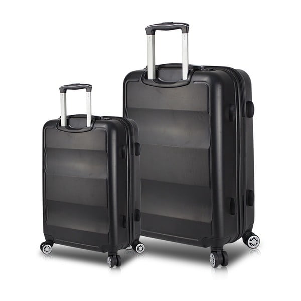 LASSO Cabin & Large 2 fekete görgős bőrönd USB csatlakozóval - My Valice