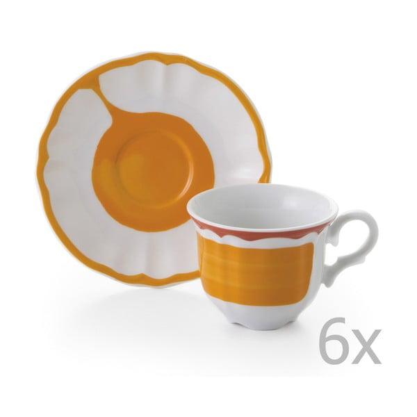 Sada 6 hrnků a 6 talířků Giotto Orange