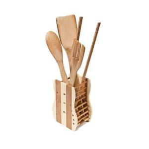 Set 5 kuchyňských nástrojů z bambusu a stojanu Utilinox