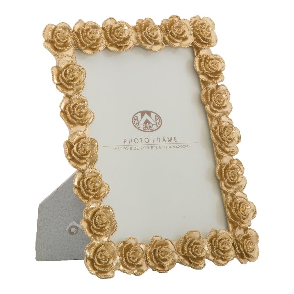 Fotorámeček ve zlaté barvě s motivem růží MauroFerretti, 21x25,5cm