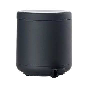 Coș de gunoi cu pedală pentru baie Zone UME, 4 l, negru imagine