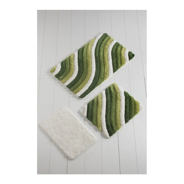 Set 3 covoare baie Colorful, verde