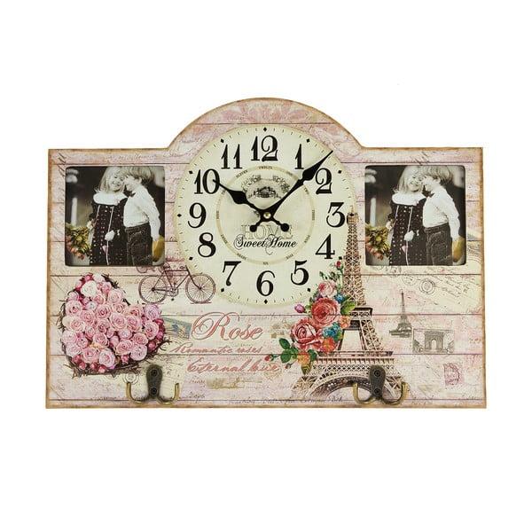 Nástěnné hodiny s fotorámečky, 45x32 cm