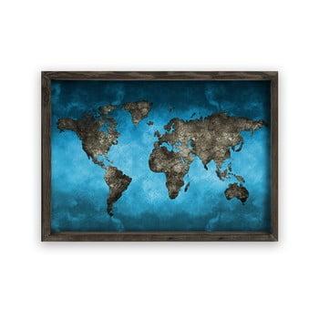 Tablou cu ramă din lemn Night World, 70 x 50 cm