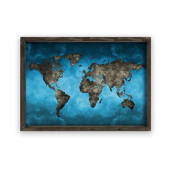 Obraz v dřevěném rámu Night World, 70 x 50 cm