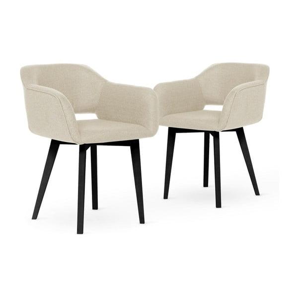 Sada 2 krémových jídelních židlí s černými nohami My Pop Design Oldenburger