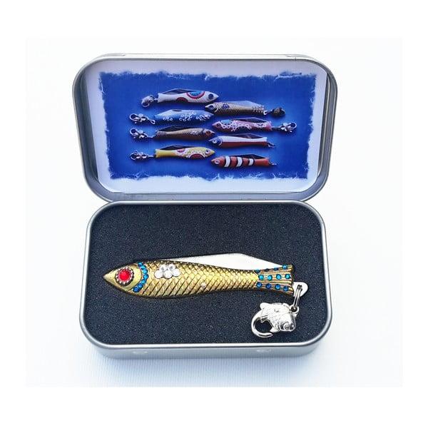 Vánoční český nožík rybička s krystaly, v plechové krabičce